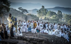 Pilgrims at dawn, Lalibela