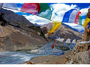 dhankar view with prayer flags